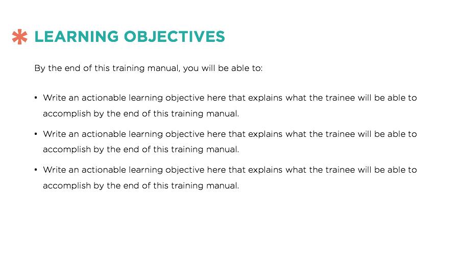 Training Manual Template - Training document template